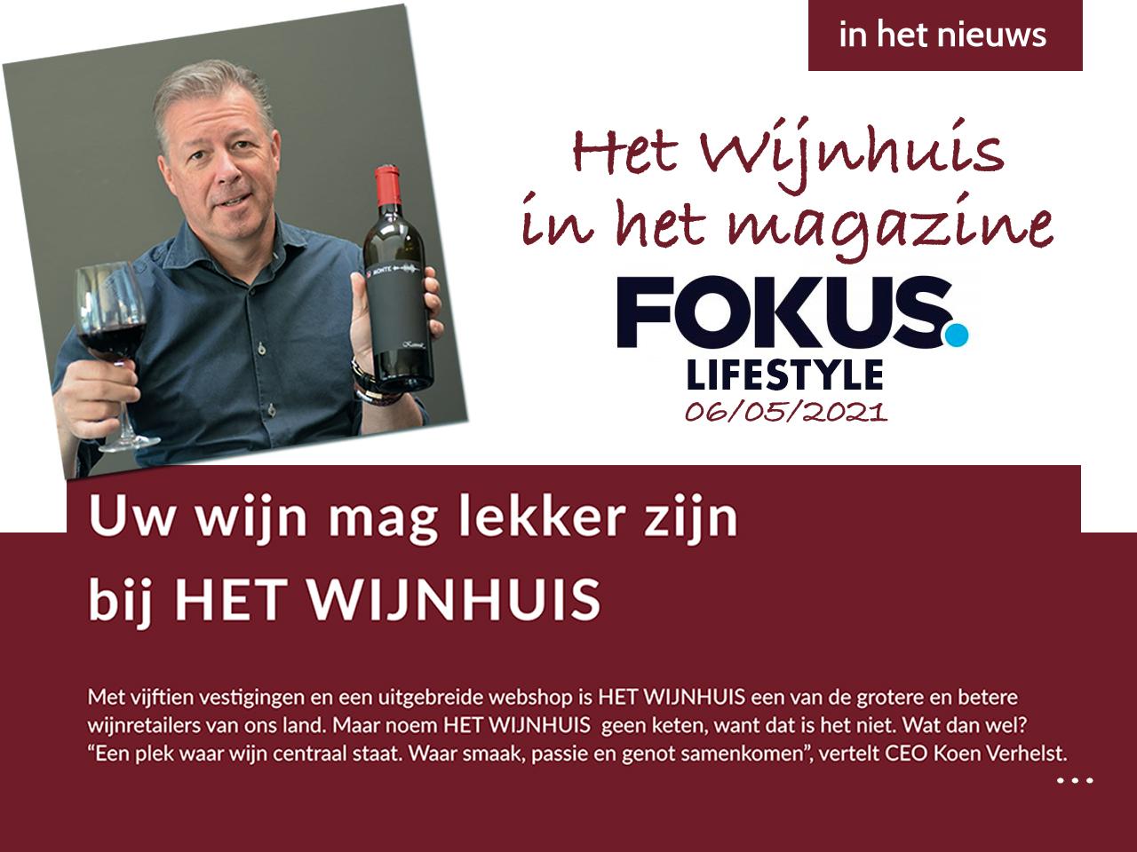 artikel Het Wijnhuis in Fokus Lifestyle magazine De Standaard