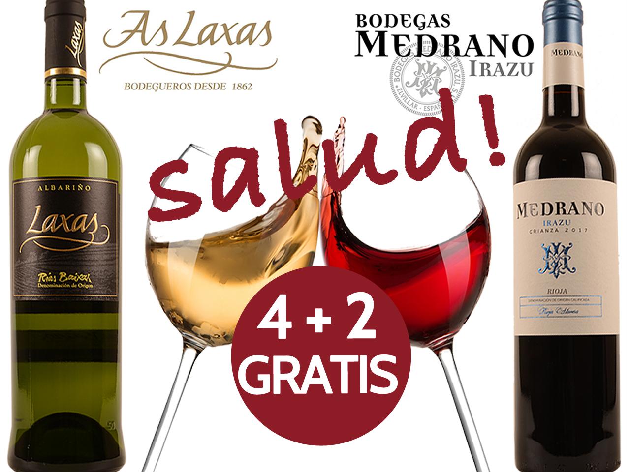Promo 4+2 gratis Spaanse toppers beste As Laxas Albarino Rioja Crianza